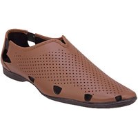 Namah  Men'S Tan Leather Slip On Formal  Shoes