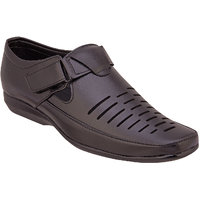 Namah Men'S Black Leather Slip Ons Formal Shoes