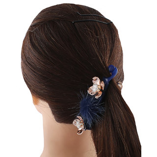 Anuradha Art Blue Colour Designer Styled With Stone Hair Accessories Banana Clip & Pin For Women