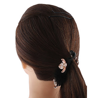 Anuradha Art Black Colour Styled With Rose Gold Finish Flower Classy Hair Accessories Banana Clip & Pin For Women