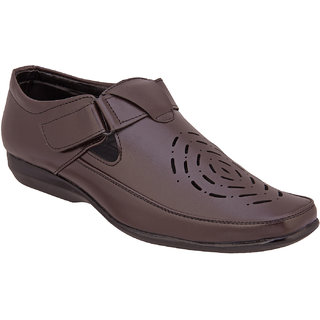 Namah Men'S Brown Leather Slip Ons Formal Shoes