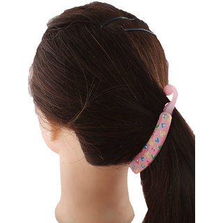 Anuradha Art Pink Colour Classy Designer Heart Styled Hair Accessories Banana Clip & Pin For Women