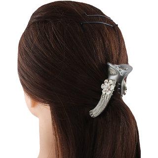 Anuradha Art Silver Colour Fancy Designer Hair Accessories Banana Clip Pin For Women