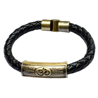 Men Style Classic Design Om CharmID Interlocking Mangetic Clasp Gold And Brown Stainless Steel And Leather Round Bracelet For Men and Boys