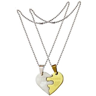 Men Style 2 Pieces Split Heart Couple Best Friend Gold And Silver Stainless Steel Heart Pendant Necklace For Men And Women