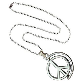 Men Style Peace Sign Anjaan Slide Charm Silver Stainless Steel Circle Pendant For Men And Women