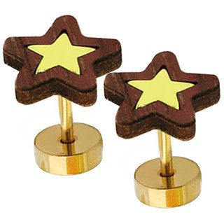 Men Style Round Barbell Dumbells Piercing Combo (1 Pair) SEr005016 Brown and Gold Wood Dumbbell Stud Earring Men and Women