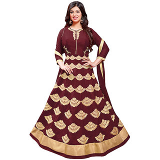 1 Stop Fashion Maroon Color Foax Georgette Semi-Stitched Festivewear Designer Suit-71306C