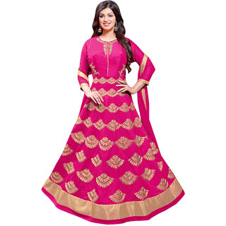 1 Stop Fashion Pink Color Foax Georgette Semi-Stitched Festivewear Designer Suit-71306D