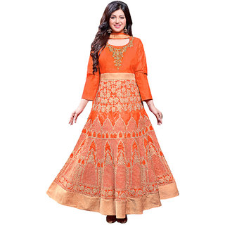 1 Stop Fashion Orange Color Silk Semi-Stitched Festivewear Designer Suit-71305C