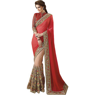 1 Stop Fashion Red & Cream Georgette Embroidered Saree With Blouse