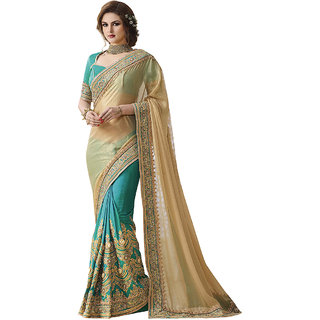 1 Stop Fashion Green & Cream Georgette Embroidered Saree With Blouse