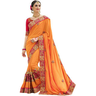 1 Stop Fashion Orange Georgette Embroidered Saree With Blouse