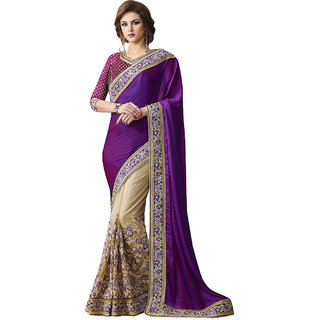 1 Stop Fashion Purple & Cream Georgette Embroidered Saree With Blouse