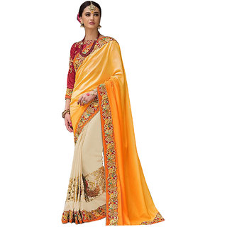1 Stop Fashion Yellow & Cream Georgette Embroidered Saree With Blouse