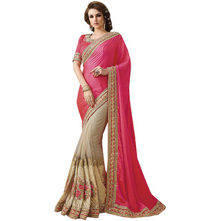 1 Stop Fashion Pink & Cream Georgette Embroidered Saree With Blouse