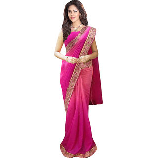 1 Stop Fashion Pink Georgette Embroidered Saree With Blouse