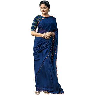 1 Stop Fashion Blue Georgette Embroidered Saree With Blouse