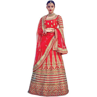 1 Stop Fashion Red Color Malabary Silk Semi-Stitched Festivewear Designer Lehenga Choli-60544A