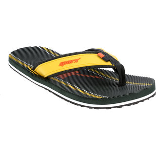 Sparx Men Olive & Yellow Slippers (SFG-2038)