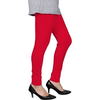 Saundarya Women's Churidar Comfortable Lycra Cotton Red  Colour Leggings - Free Size