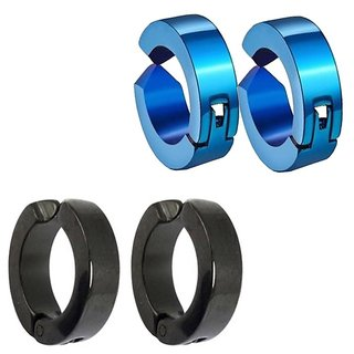 Men Style Fashion Punk Non-Piercing Ear mens jewelry(2 Pairs) SEr005048 Black and Blue Stainless Steel Round Clip on Earring Men and Women