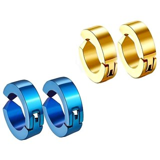 Men Style Fashion Punk Non-Piercing Ear mens jewelry(2 Pairs) SEr005051 Gold and Blue Stainless Steel Round Clip on Earring Men and Women