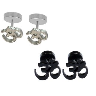 Shiv Jagdamba Best Quality Om Piercing Combo (2 Pairs) SEr005072 Silver and Black Stainless Steel Stud Earring Men and Women