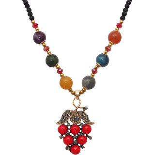 JewelMaze Red Beads Austrian Stone Gold Plated Necklace-FAA0444