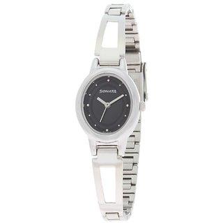 Sonata Quartz Black Oval Women Watch 8085SM01
