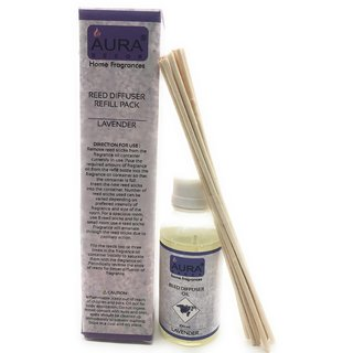AuraDecor Reed Diffuser Refill Pack includes 100 ml Reed Diffuser Oil, 10 new Reed Sticks (Lavender)