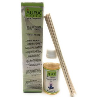 AuraDecor Reed Diffuser Refill Pack includes 100 ml Reed Diffuser Oil, 10 new Reed Sticks (Meditation)