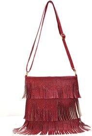 Bee Fashionable Stylish Maroon Sling Bag For Women