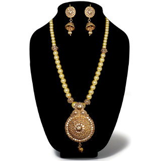 JewelMaze Gold Plated Brown Austrian Stone Necklace Set-AAA1927