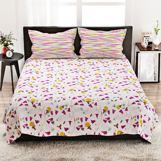 STELLAR HOME LILLY BED LINEN QUEEN - 8100022 MUTLI Double Bed Sheet With 2 Pillow Covers