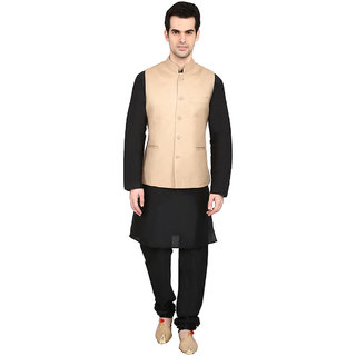 indian ATTIRE Blended Cream Koti (Waistcoat) And Black Kurta Churidar For Men