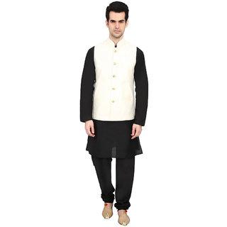 indian ATTIRE Cream Blended Silk Koti (Waistcoat) and Black Kurta Churidar Men