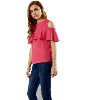 d99bf67d6617c Buy Aashish Garments Magenta Cold Shoulder Ruffle Top Online - Get 18% Off