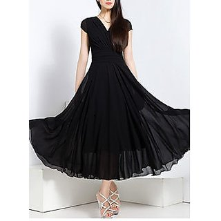 Westchic Black Plain A line Dress For Women
