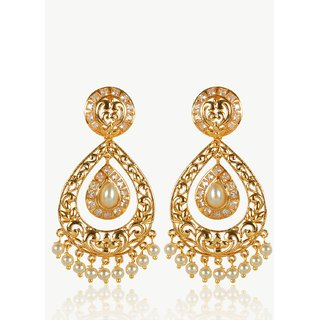 Much More Gold Plated White Alloy Studs  For Women
