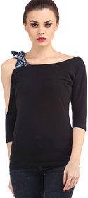 Aashish Garments Black Knot Cold Shoulder Top