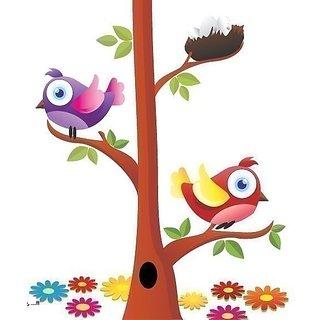 Asmi Collections PVC Wall Stickers Beautiful Tree Birds Nest