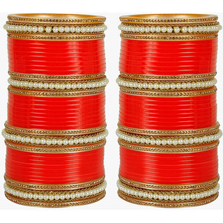 Much More Gold Plated Red Alloy Bangles For Women