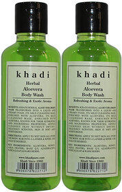 Khadi Herbal Aloevera Body Wash - 210ml (Set of 2)