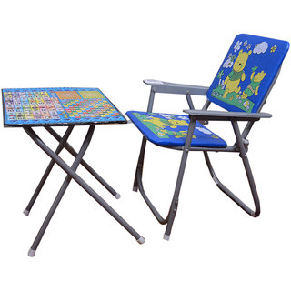 KS Baby Kids Blue Study Table And Chair Multicolour