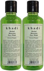 Khadi Herbal Aloevera Face Wash - 210ml (Set of 2)
