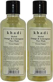Khadi Herbal Orange  Lemongrass Face Wash - 210ml (Set of 2)