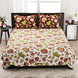STELLAR HOME LILLY BED LINEN QUEEN - 8100042 MUTLI Double Bed Sheet With 2 Pillow Covers