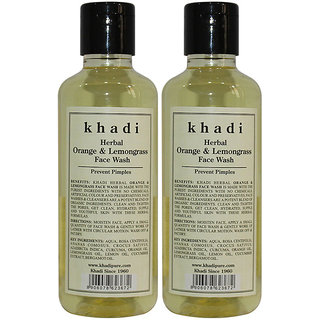 Khadi Herbal Orange  Lemongrass Face Wash - 210ml (Set of 2)