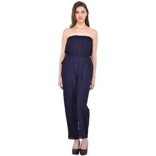 Rigo Navy Rayon Self Design Jumpsuits For Women